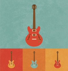 Retro electric guitar vector