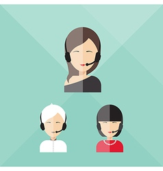 Charming girl telephone operator call center vector