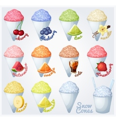 Set of snow cones shaved ice vector