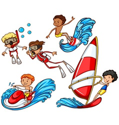 A group of people doing watersports vector