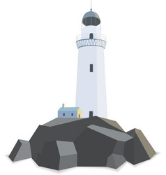 Lighthouse with house on rocks isolated flat vector