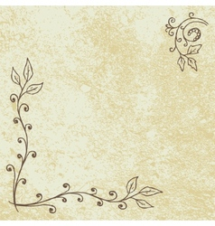 Grunge floral background with empty space vector