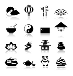 China icons set black vector