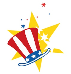 American hat over stars vector