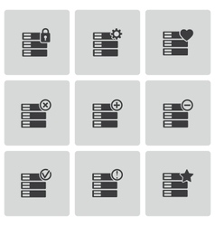 Black database icons set vector