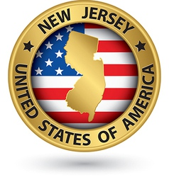 New jersey state gold label with state map vector