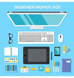Designer workplace top view vector