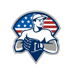 American baseball pitcher gloves retro vector