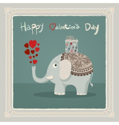 Valentines day elephant card vector