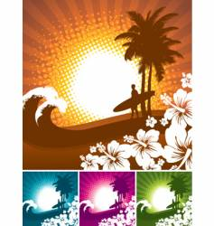 Hibiscus and surfer silhouettes vector