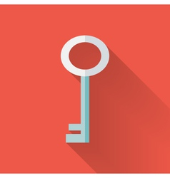 Flat key icon over red vector