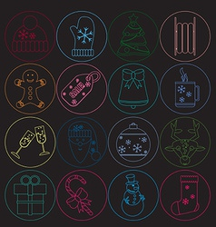 Christmas icons thin neon style round button with vector