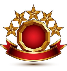 Glamorous round element with red filling 3d vector