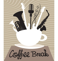 Drink coffee listen to music vector