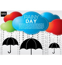 Colorful cloud with rain on black umbrellas vector