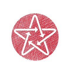 Star icon with arrows with hand drawn lines vector