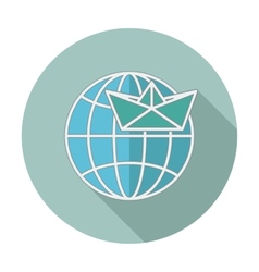 Flat icon with long shadow earth globe and ship vector