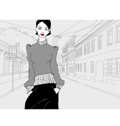 Lady in town grey vector