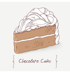 Sweet chocolate cake doodle isolated in vector