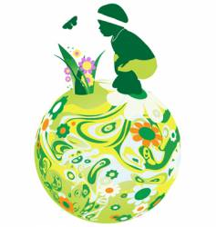 Child on the floral sphere vector