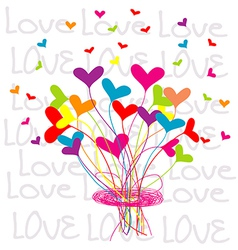 Background with a bouquet of hearts vector