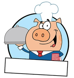 Waiter pig serving food on a platter vector