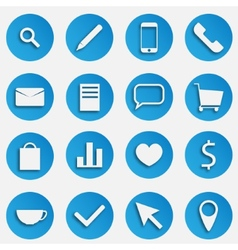 Blue seo business icons set with magnifier pen vector