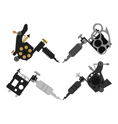Set of 4 different style tattoo machines no vector