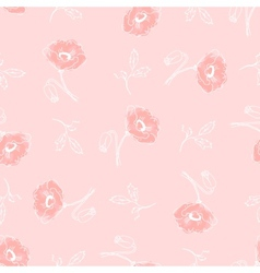 Pattern of beautiful poppy flowers vector