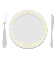 Plates with a gold rim with a fork and knife vector