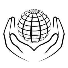 Hands holding a globe vector