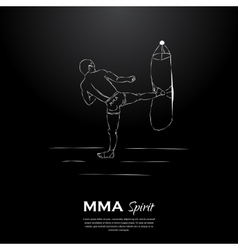 Mma spirit fighter and punching bag vector