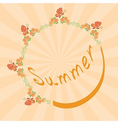 Summer background with floral frame vector