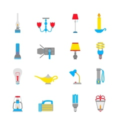 Flashlight and lamps icons vector