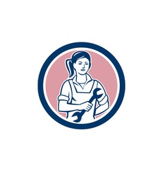 Female mechanic spanner circle retro vector