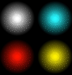 Star shine effect white aqua red yellow vector