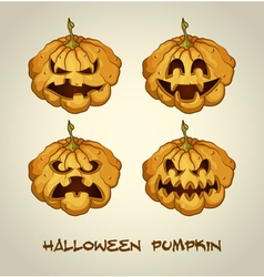Set of spooky jack o lanterns vector