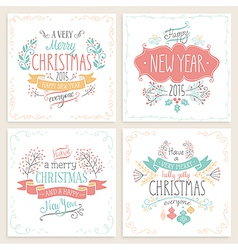 Christmas handdrawn emblems vector