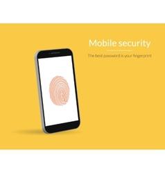Fingerprint scanning on smartphone vector
