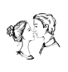 Sketch of loving couple vector