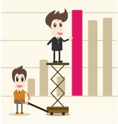 Successful business team in front of graph vector
