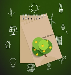 Paper note with ecology and environment icons vector