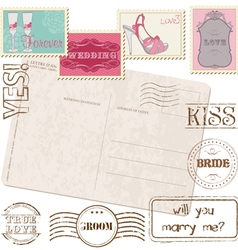 Set of wedding postage stamps vector