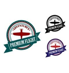 Premium flight adventures symbol vector
