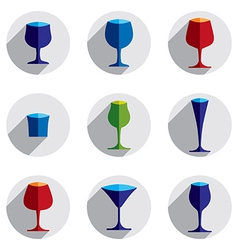 Colorful drinking glasses collection set of vector