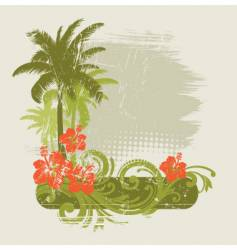 Hibiscus with ornament and palms vector