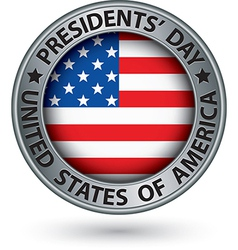 Presidents day silver label with usa flag vector