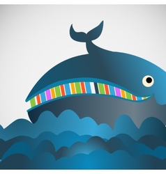 Colorful cheerful whale in the sea vector