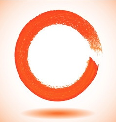 Orange paintbrush circle frame vector