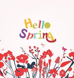 Hello spring postcard vector